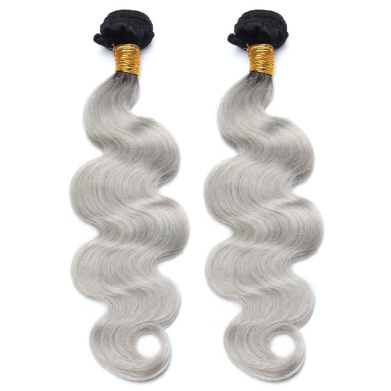 Luxury 10A 1B Gray Ombre Body Wave Hair 2 Bundles