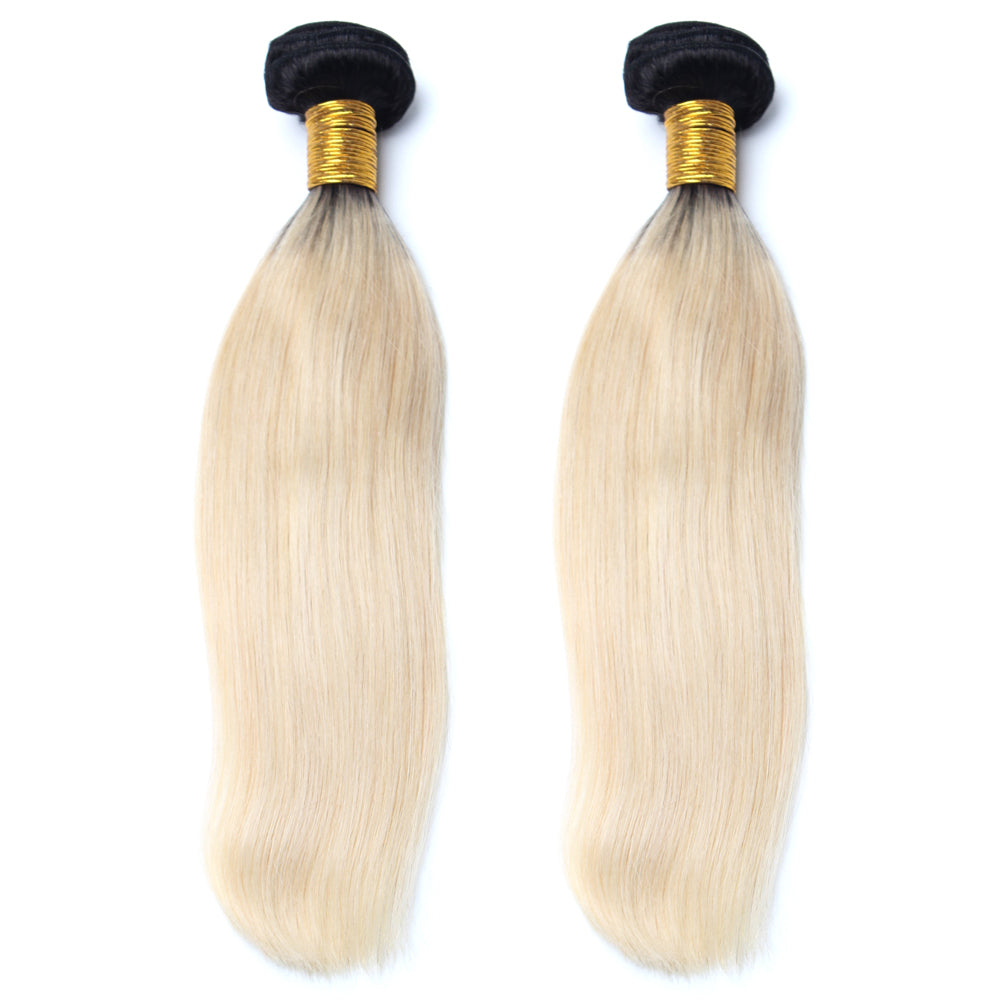 Luxury 10A 1B 613 Blonde Ombre Straight Hair 2 Bundles