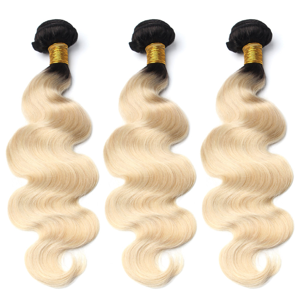 Luxury 10A 1B 613 Blonde Ombre Body Wave Hair 3 Bundles