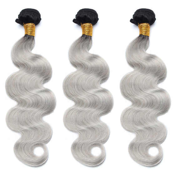 Luxury 10A 1B Gray Ombre Body Wave Hair 3 Bundles