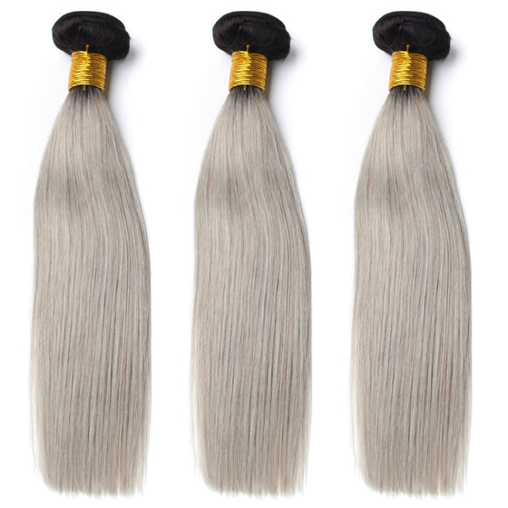 Luxury 10A 1B Gray Ombre Straight Hair 3 Bundles