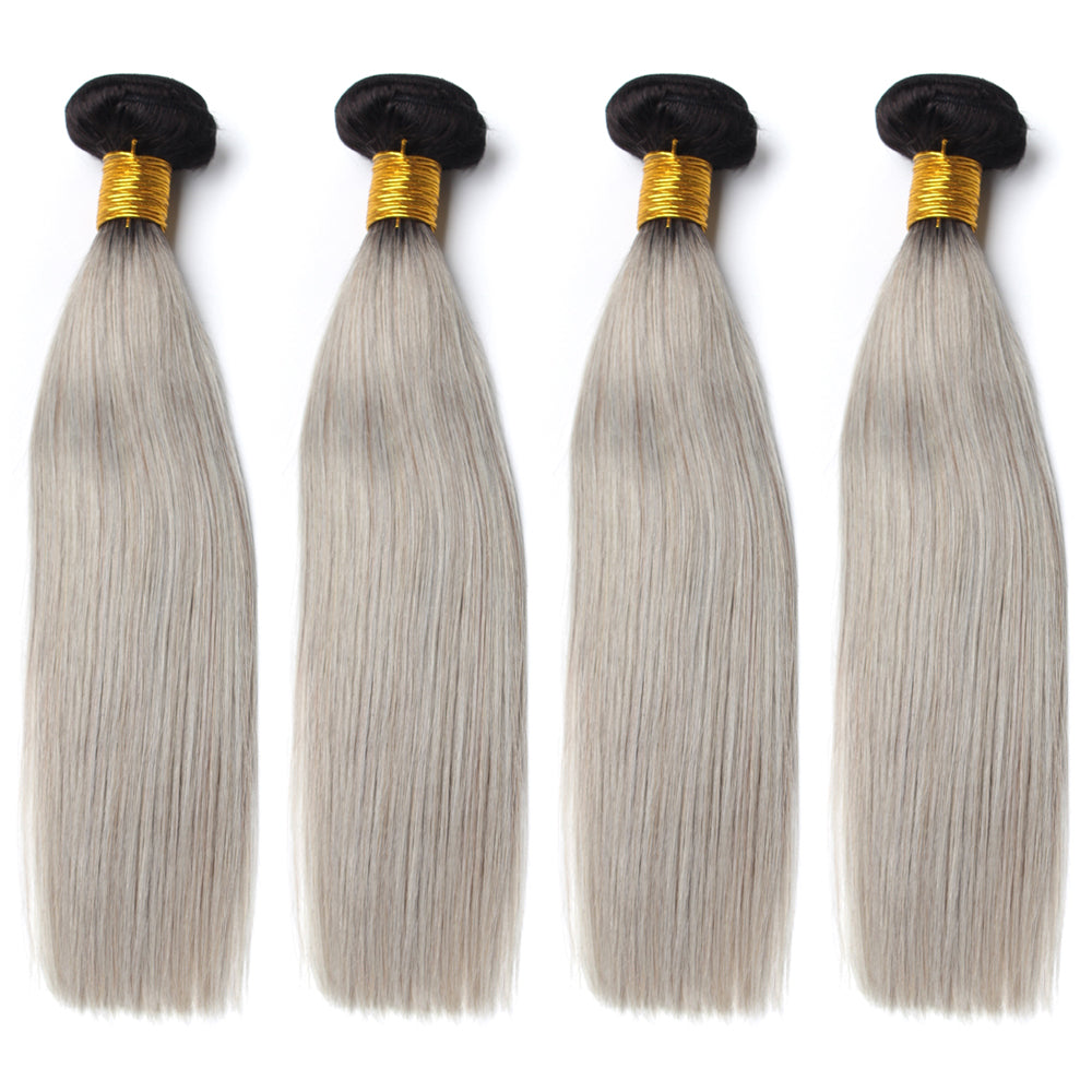 Luxury 10A 1B Gray Ombre Straight Hair 4 Bundles