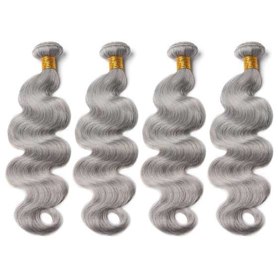 Luxury 10A Pure Gray Body Wave Hair 4 Bundles