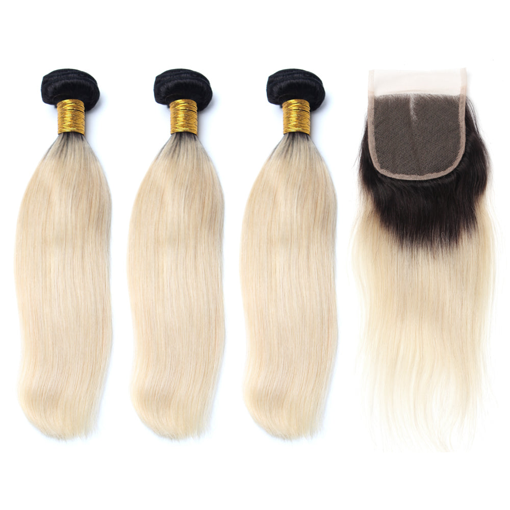 Luxury 10A 1B 613 Blonde Ombre Srtaight Hair 3 Bundles With 1 Pc Lace Closure