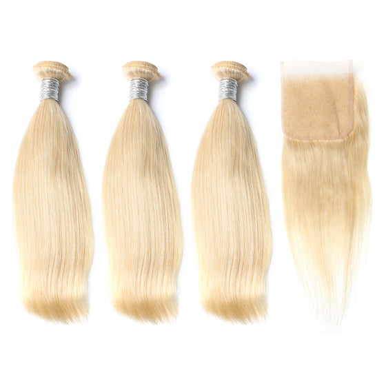 Luxury 10A 613 Blonde Straight Hair 3 Bundles With 1 Pc Lace Closure