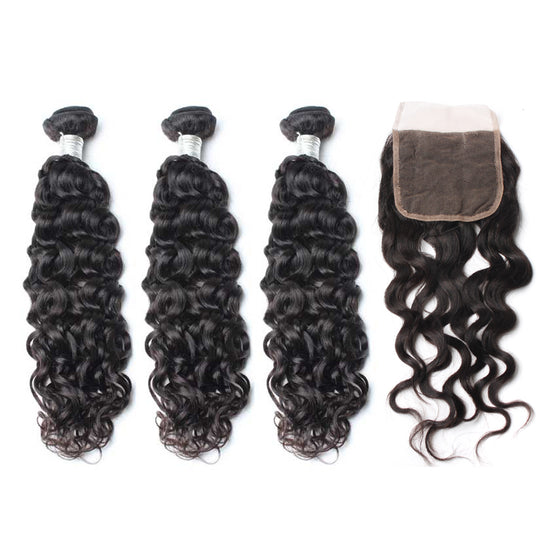Luxury 10A Mink Natural Wave Hair 3 Bundles With 1 Pc Lace Closure