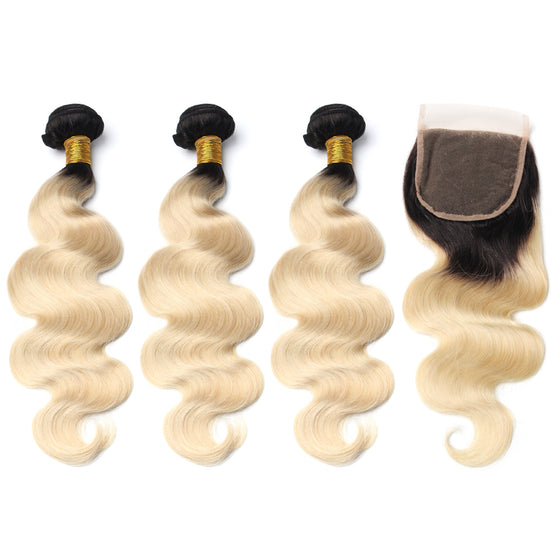 Luxury 10A 1B 613 Blonde Ombre Body Wave Hair 3 Bundles With 1 Pc Lace Closure