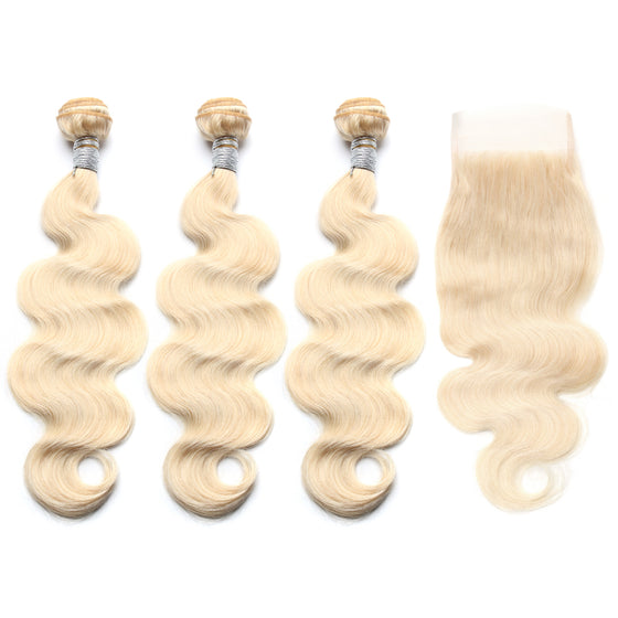 Luxury 10A 613 Blonde Body Wave Hair 3 Bundles With 1 Pc Lace Closure