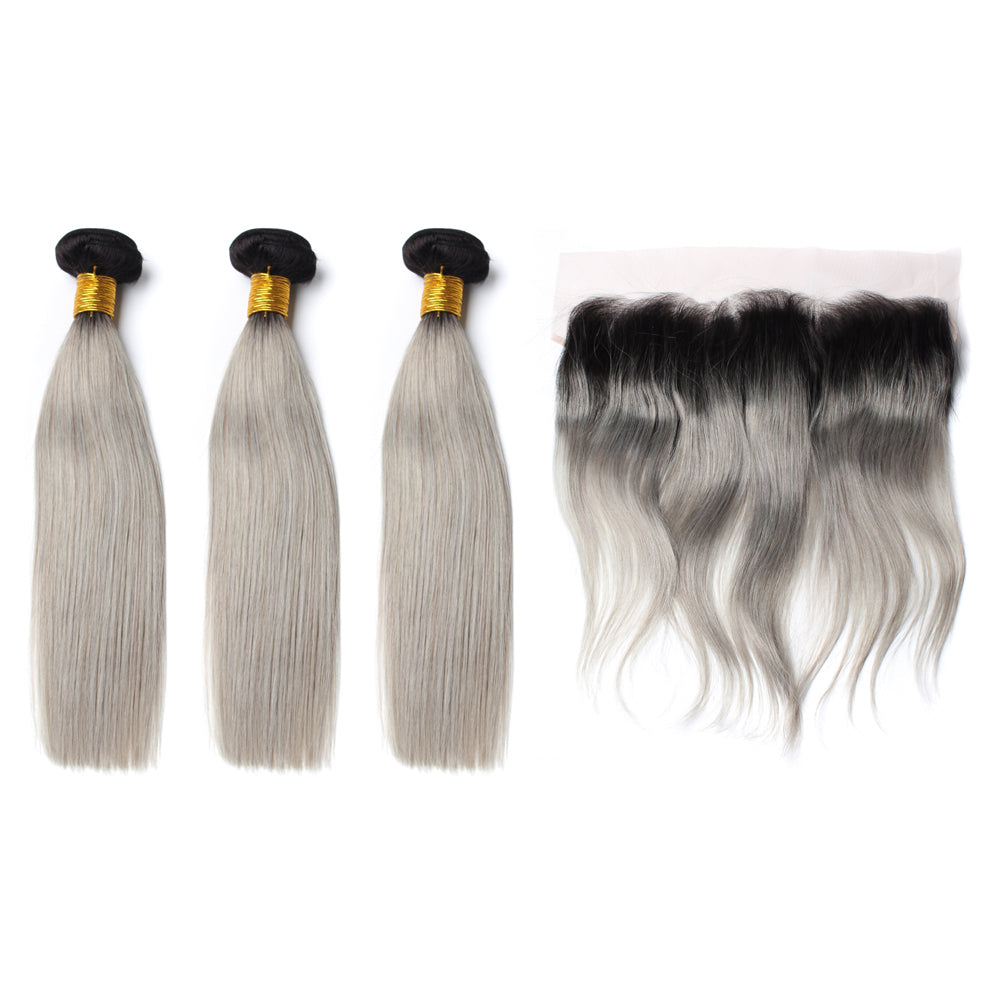 Luxury 10A 1B Gray Ombre Straight Hair 3 Bundles With 1 Pc Lace Frontal