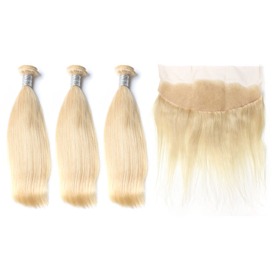 Luxury 10A 613 Blonde Straight Hair 3 Bundles With 1 Pc Lace Frontal