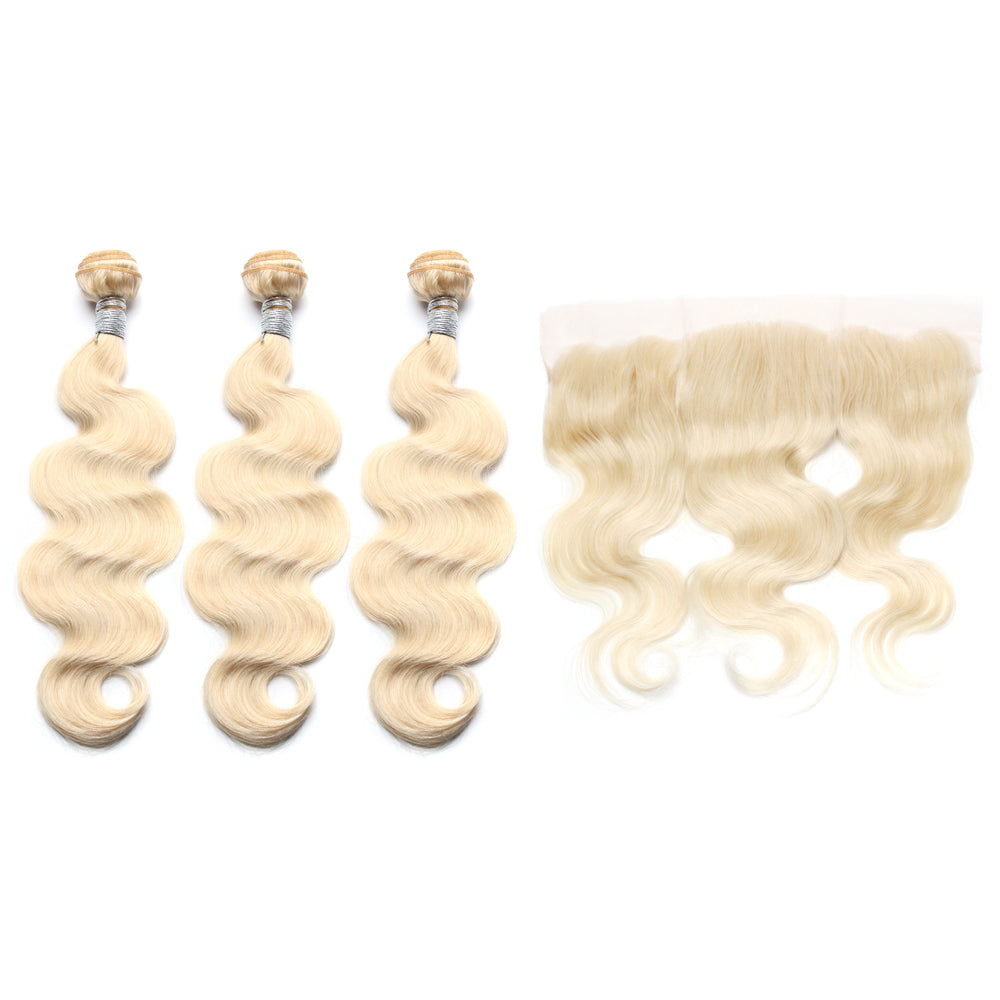 Luxury 10A 613 Blonde Body Wave Hair 3 Bundles With 1 Pc Lace Frontal