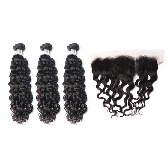 Luxury 10A Mink Natural Wave Hair 3 Bundles With 1 Pc Lace Frontal