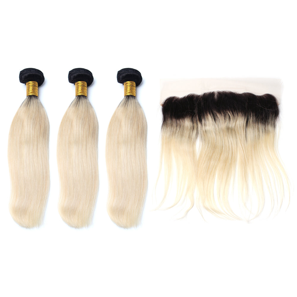Luxury 10A 1B 613 Blonde Ombre Straight Hair 3 Bundles With 1 Pc Lace Frontal