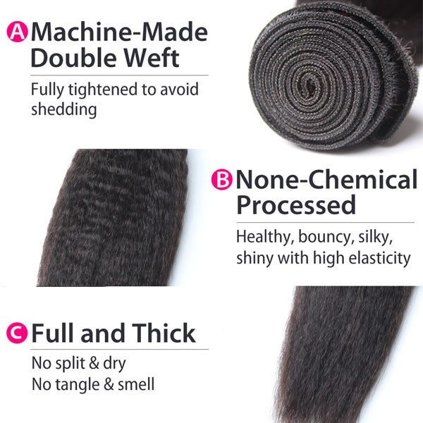 Luxury 10A Mink Kinky Straight Hair 4 Bundles Details