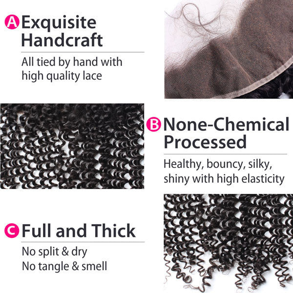 Luxury 10A Mink Kinky Curly Lace Frontal Details