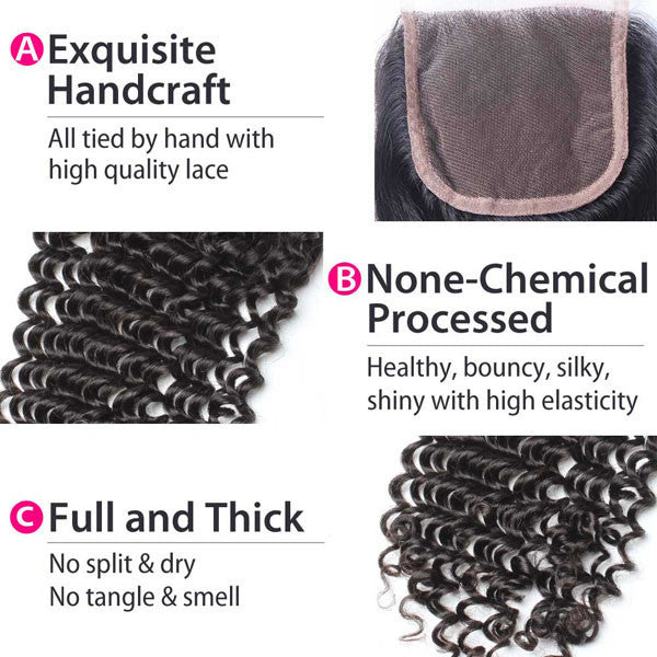 Luxury 10A Mink Kinky Curly Lace Closure Details