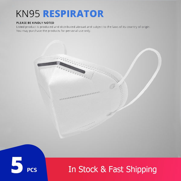 5 pcs/bag KN95 Face Mask PM2.5 Anti-fog Strong Protective Mouth Mask Respirator Reusable (not for medical use)