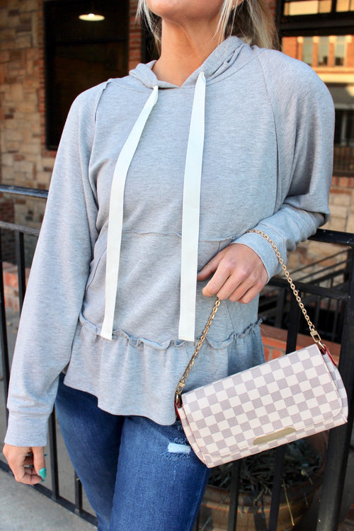 Casual Ruffle Grey Top