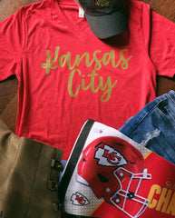 Red Kansas City Cursive T-Shirt
