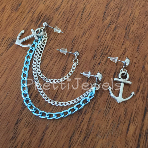 Triple Piercing Blue Anchor Earrings