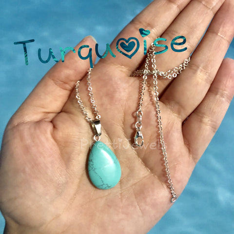 Turquoise Droplet Gemstone Necklace