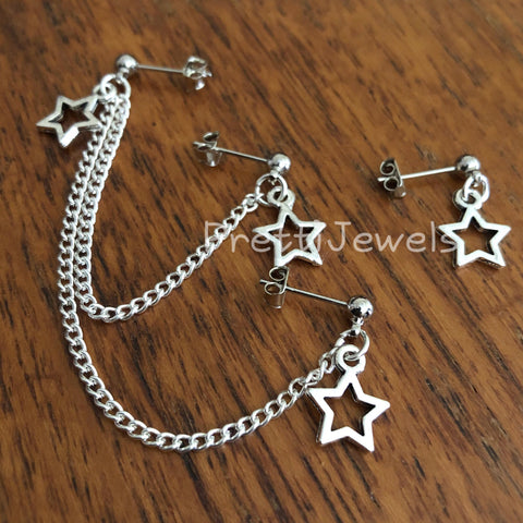 Triple Piercing Star Cartilage Earrings