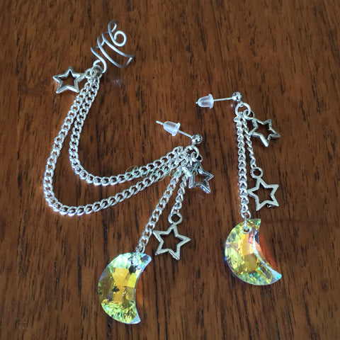 Swarovski Crystal Moon Ear Cuff Earrings