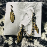 Double Piercing Antiqued Brass Feathers Earrings