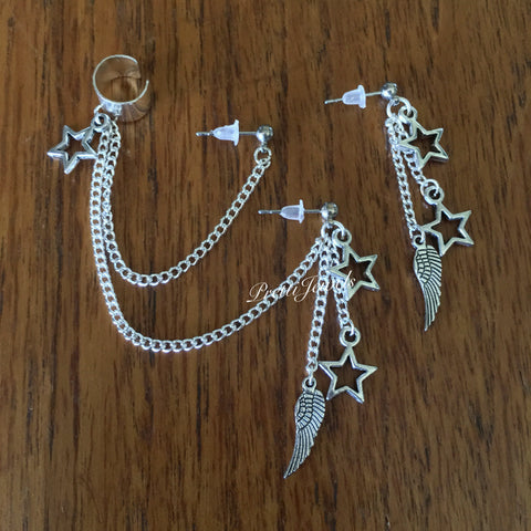 Star Wing Double Piercing Ear Cuff