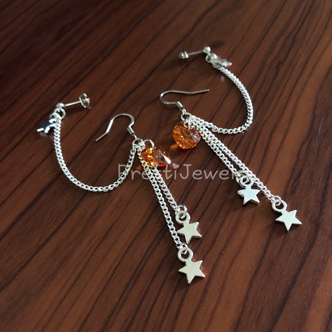 Fiery Heart Star Crystal Double Piercing Earrings Set