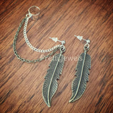 Big Feather Ear Cuff Earrings