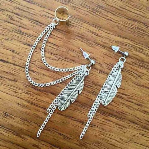 Feather Dangly Ear Cuff Set