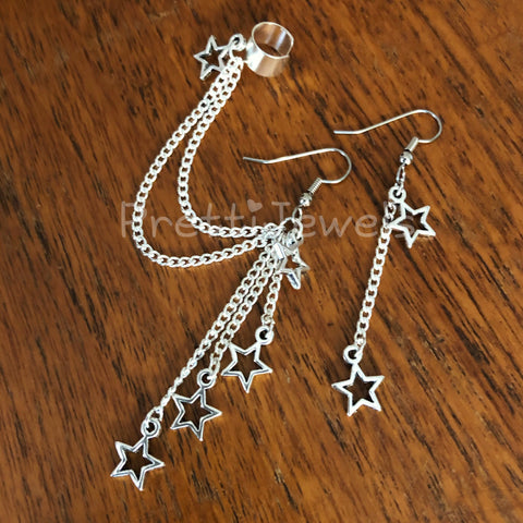 Dangly Star Ear Cuff Set