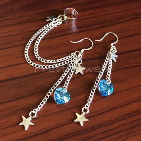 Star Heart Swarovski Ear Cuff