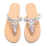Women Silver Jeweled Hand Crafted Crystal Flip Flops Rhinestones Flats Sandals