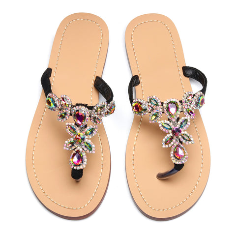 Women Black Jeweled Hand Crafted Crystal Flip Flops Rhinestones Flats Sandals