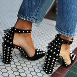 AZMODO Black Round Rivet Chunky Heel Pointed Toe Stiletto Heels