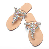Women Rhinestones Chains Flat Gladiator Sandals Wedding Shoes Silver Color