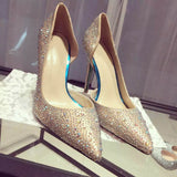 Rhinestone Pointed-toe Gold Stiletto Heels