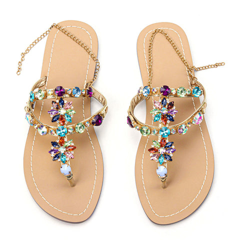 Women Rhinestones Chains Flat Gladiator Sandals Multicolor (Plus Size Available)
