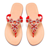 Women Red Jeweled Hand Crafted Crystal Flip Flops Rhinestones Flats Sandals