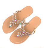 Women Gold Jeweled Hand Crafted Crystal Flip Flops Rhinestones Flats Sandals