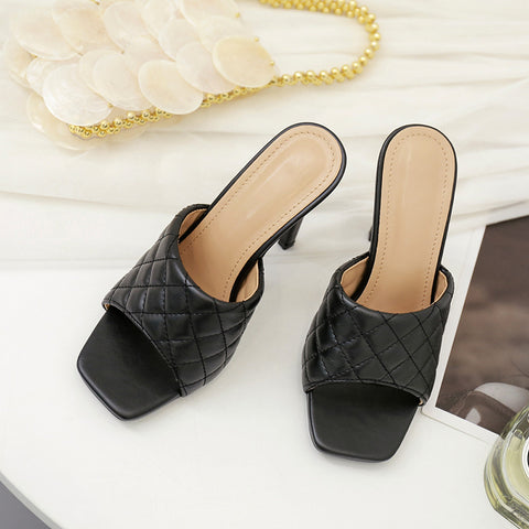 PU Banquet Wild Leather Sandals Diamond Check Wine Glass with Leather Outdoor Wild Casual Slippers