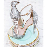 Fancy High Heel Sandals Women's Wedding Shoes