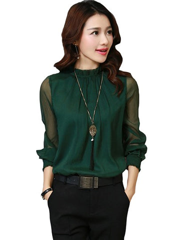 Pure Color Stand Collar Loose Women's Blouse