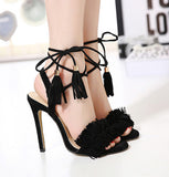 Sexy Sandal fashion Tassel lace-ups Sandals All-match fringed strap sandals high-heeled shoes