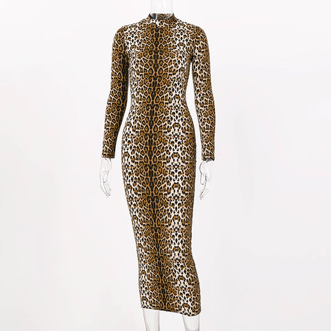 Leopard print long sleeve slim bodycon sexy dress 2020 autumn winter women streetwear party festival dresses outfits