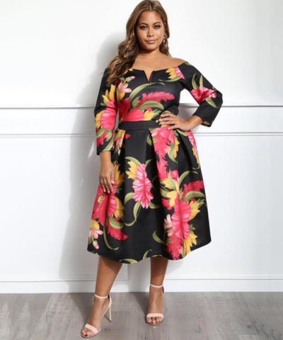azmodo Boat Neck Plus Size Printing Women's Day Dress