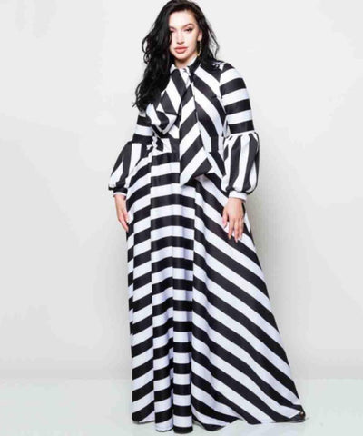 azmodo Striped Lantern Sleeve Plus Size Women's Maxi Dressa