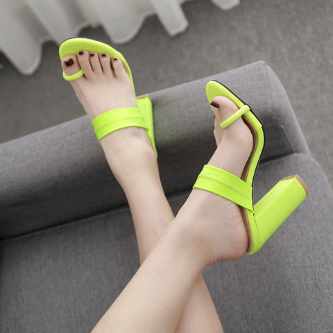 Fashion 2019 women's sandals stilettos high heels shoes slip-on sexy pumps party dress ladies shoes slippers green womens heels